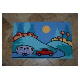 YARN PUNCHED RUG, TRUCK & CAMPER