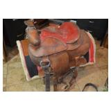 """WESTERN SADDLE & PAD WITH RED LEATHER SEAT, 16"""""""