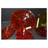 5 PCS ASSORTED RED ART GLASS BOWLS