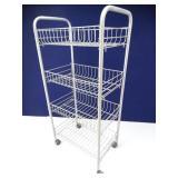 Metal Rolling Organizational Cart, 4 Basket +