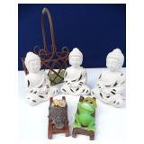 Ceramic Buddhas & Basket