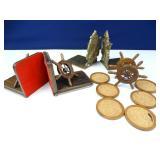 Nautical Themed Book Ends & Cork Coaster Set (3)