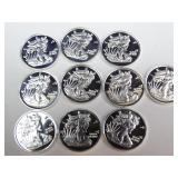 (10) Silver 1g Bars - Walking Liberty