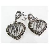 Sterling Silver & Marcasite Heart Dangle Earrings