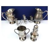 Silver-Plated Pitchers, Candleabras, Mug +