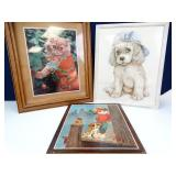 Trio of Cute Dog & Cat Framed Art Pieces (3)