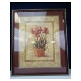 Ornate, Maroon-Framed Floral Oil Painting