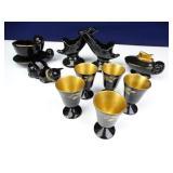 Black Porcelain w/ Gold Foil Trim Home Decor