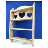Heart Cut Out, Wooden Hanging Shelf Set