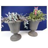 Plastic Urn Planters w/ Faux Flora