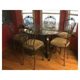 Bar Height Glass Top Dinette Set - Table & 6