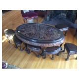 Antique Wood Carved Coffee or Tea Table
