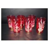 Vintage Cranberry Etched Glasses