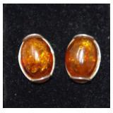 Sterling Silver Amber Earrings   2.71 grams