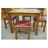Mid Century Solid Oak Table & Stools