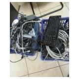 2 BASKETS OF CORDS - KEYBOARDS - MOUSE - OF