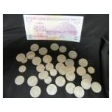 VARIOUS AMERICAN COINS AND 1 2 DOS LEMPIRAS - OF