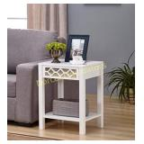 White Finish Glass Front Side End Table