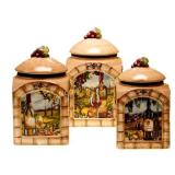 Tuscan View 3-Piece Earthenware Canister Set new