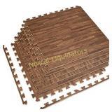 Sorbus Interlocking Floor Mat, Wood Grain Print,