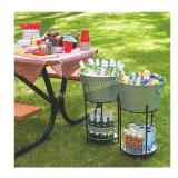 Ice Bucket With Stand and Tray. Galvanized Party