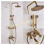 Antique Brass Bathtub Shower Faucet Set with