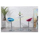 Adjustable Pub Table Round White ABS Top Bistro