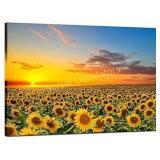 Sea Charm Sunflower Canvas Wall Art Warm Color