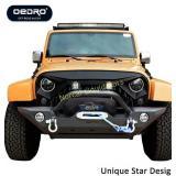 OEDRO JK Front Bumper + 2x Square LED Light Bars