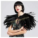 BABEYOND 1920s Feather Collar Shawl Gatsby Cape