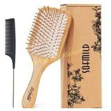 Hair Brush-Natural Wooden Bamboo Brush and