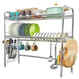 Over The Sink Dish Drying Rack,2-Tier Large Dish
