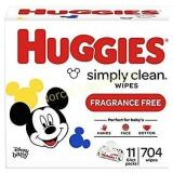 Huggies Simply Clean Unscented Baby Wipes, 11