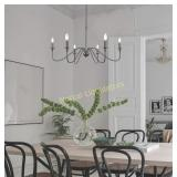 &A Black 6-Light Chandeliers,Classic Candle