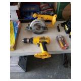 18v dewalt power tools with batteries and a