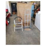 "2 wheel hand truck and a 16"" 2 step utility"