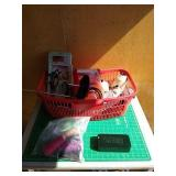 Assorted sewing accessories gift basket. Includes