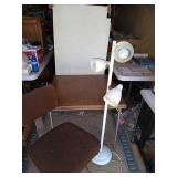 Folding table adjustable chair and 3 bulb lamp.