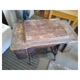 Wyeth brand cast iron stand with wooden table.