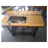 Steel based wooden top sewing table. Unit