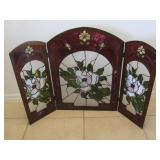 Vintage Stained Glass Fireplace Screen U10C