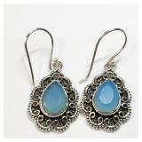 Sterling Silver Chalcedony Dangle Earrings SjC
