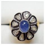 Silver Sapphire Gold Plated Diamond Ring SJC
