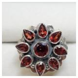 Sterling Silver Garnet Fashion Ring SJC