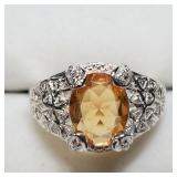 Sterling Silver Genuine Citrine Ring SJC