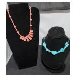 Genuine turquoise & Salmon Gemstone Necklaces SJC