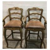 2 Bar Chairs w/ Textured Upholstery Q10B