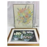 2 Framed Flower Bouquet Paintings T15D