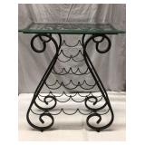Metal Glass Top Side Table Q8B