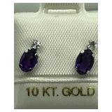 10K White Gold Amethys moonstone Earrings JC